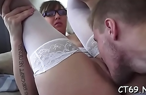 After the gentle oral filthy bitch receives a passionate sex