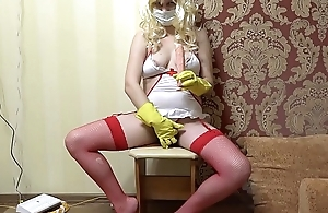 A pregnant nurse treats your sexual arousal and a rubber dick fucks hairy pussy, fetish.