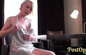 Bigtitted solo shemale rubs her clit