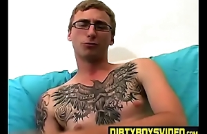 Amateur tattooed twink fingers his ass and masturbates solo