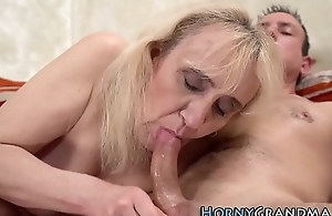 Blonde granny fingered