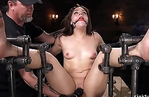 Bent over brunette anal toyed