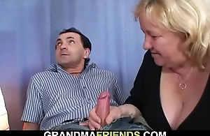 Very old busty blonde grandma swallows several cocks