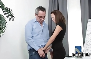 Kissable schoolgirl gets teased and drilled by aged mentor