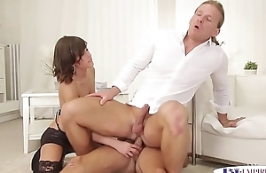 Elegant hunk rides cock while getting a bj