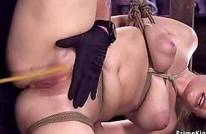 Hot ass babe in hogtie whipped and caned