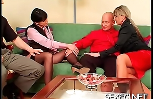 Superb babes stabd clothed while sharing a large weenie