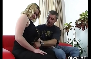 Big titted amateur gets licked by old lad and rides him
