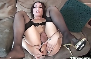 Gorgeous ts babe draining cock at casting