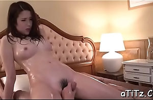 Zealous pussy toying and fellatio for big boobs asian