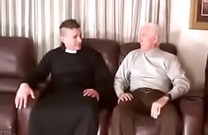 Silver daddy gets fucked by priest bareback
