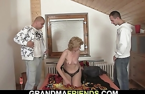 Consolidated titted slim old woman pleases two men