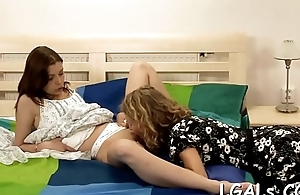 Chicks spread legs and lick soaked legal age teenager pussies one by one