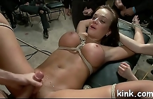 Hot busty charming sexy girl in drilled in strict bondage!