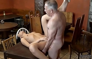 DADDY4K. Hottie Anna Rose stand for old lover stretch her wet pussy in bar