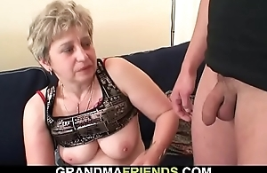 Very old woman swallows two cocks after masturbation