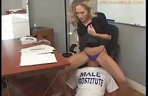Young but bossy secretary humiliates his boss forcing him to lick her ass and pussy. www.lifecamgirls.com