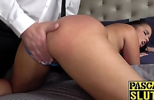 Sub British babe fucked from behind and toyed as well