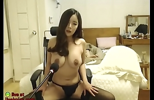Huge tits Korean in black stockings