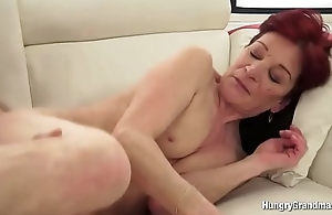 Granny With Redhead Enjoys Hard Cock in Her Pussy