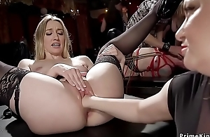 Anal fucking and fisting slaves at orgy