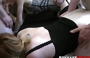 Gangbang band whores fucked and fed with lots of cocks