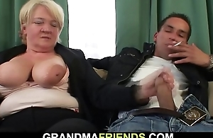 Two buddy bonk boozed blonde granny from both ends
