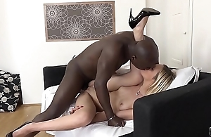Sexy blonde hardcore interracial fuck ends with cum in mouth and swallowing