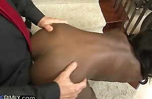 Swarthy stepdaughter gobbles down cock