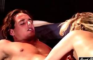 Gorgeous classy milf gags on a huge cock