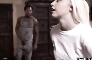 Black jogger takes advantage of a blind teen and fucks her