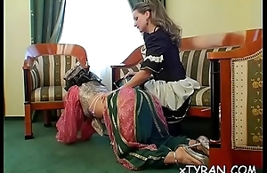 Naughty female-dominator smothers slave'_s face with some facesitting