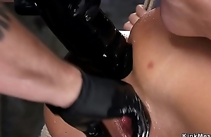 Hogtied in the express gets anal banged