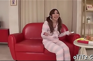 Asian with priceless boobs enjoys rough toying and lusty pounding